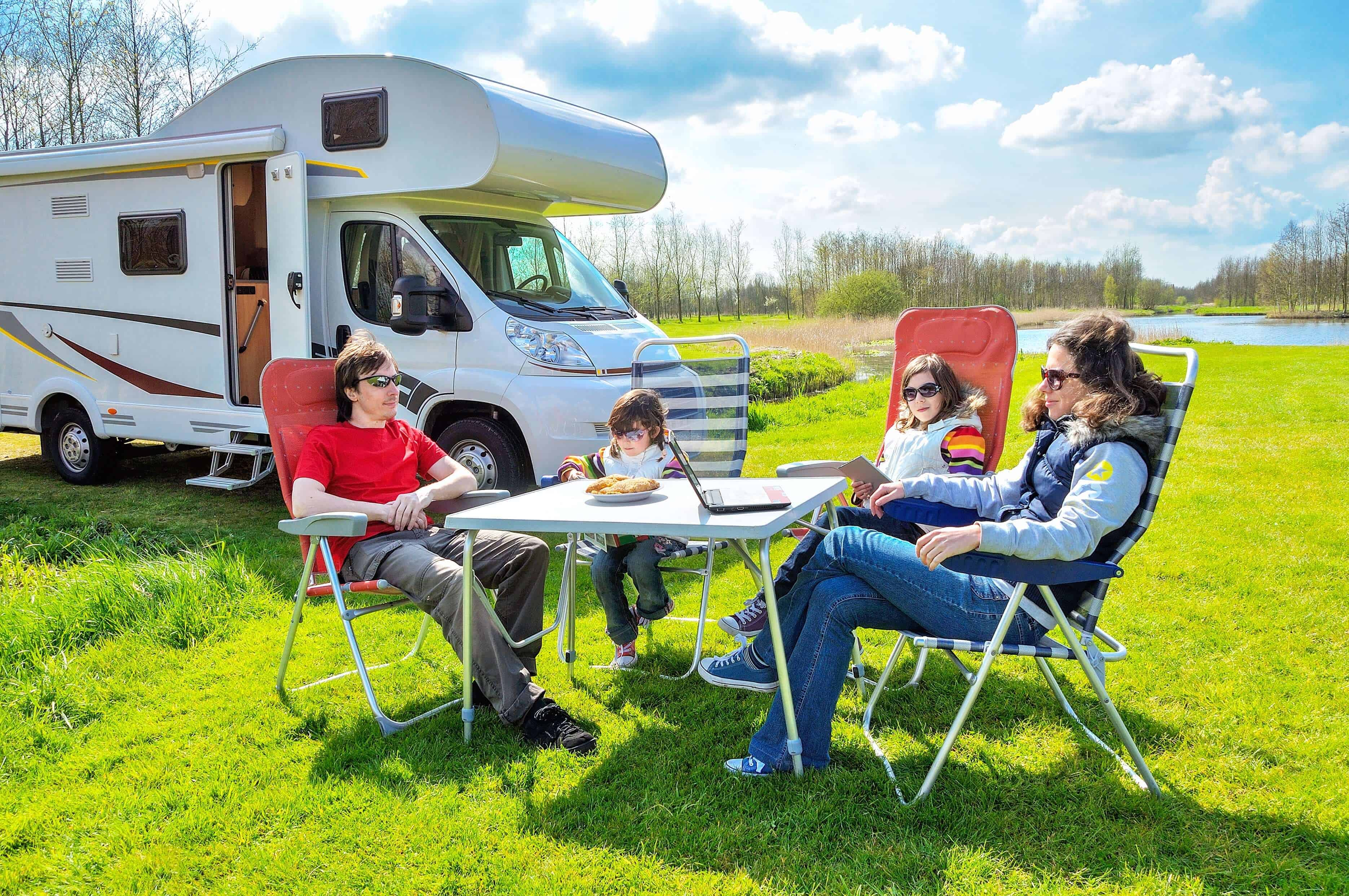 Couple sitting in front of RV