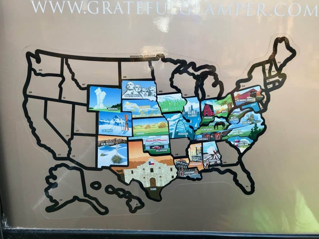rv travel sticker map